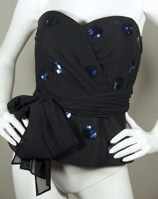DKNY Black & Blue Sequined Polka Dot Bustier Top / Sz 4 - Style Therapy  - 3