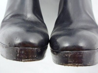 Ralph Lauren Collection Black Leather Platform Boots / Sz 6.5 - Style Therapy  - 10