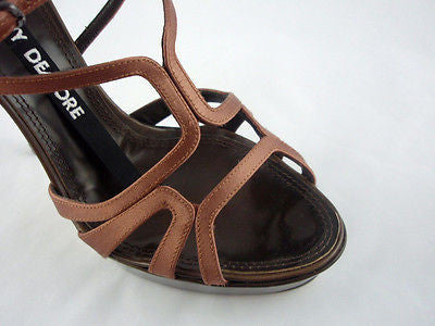 Berny Demore Brown Satin Birdcage Platform Sandals / Sz 36.5 - Style Therapy  - 4