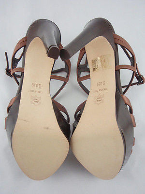 Berny Demore Brown Satin Birdcage Platform Sandals / Sz 36.5 - Style Therapy  - 7
