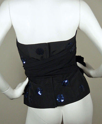DKNY Black & Blue Sequined Polka Dot Bustier Top / Sz 4 - Style Therapy  - 6