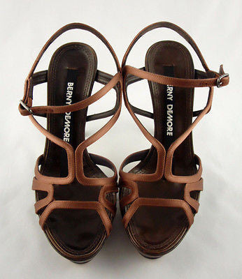 Berny Demore Brown Satin Birdcage Platform Sandals / Sz 36.5 - Style Therapy  - 5