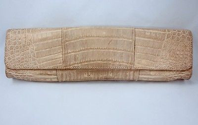 Carlos Falchi Metallic Gold Alligator Clutch Bag - Style Therapy  - 2