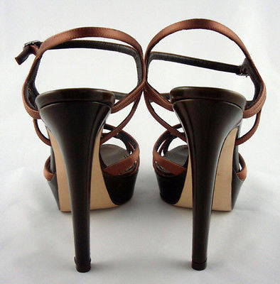 Berny Demore Brown Satin Birdcage Platform Sandals / Sz 36.5 - Style Therapy  - 6