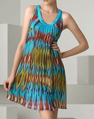 Tory Burch Turquoise Global Print Chiffon Dress / Sz 2 - Style Therapy  - 5