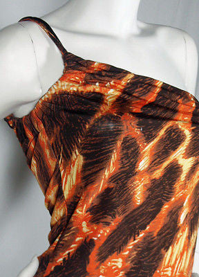 Just Cavalli by Roberton Cavalli Orange & Brown One-Shoulder Top / Sz S - Style Therapy  - 2