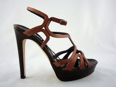 Berny Demore Brown Satin Birdcage Platform Sandals / Sz 36.5 - Style Therapy  - 3