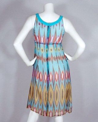Tory Burch Turquoise Global Print Chiffon Dress / Sz 2 - Style Therapy  - 3