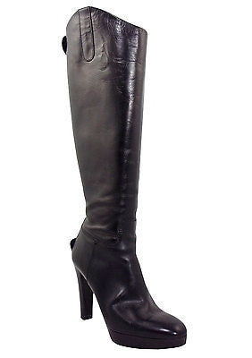 Ralph Lauren Collection Black Leather Platform Boots / Sz 6.5 - Style Therapy  - 1