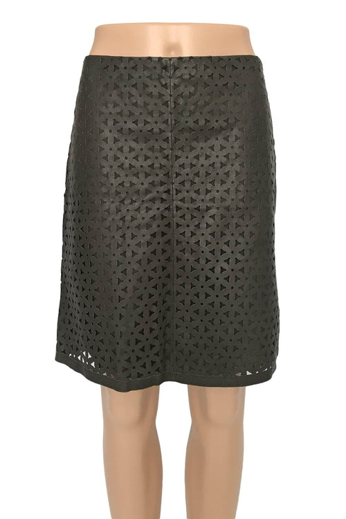 Worth Laser Cut Brown Leather A-Line Mini Skirt / Sz 0