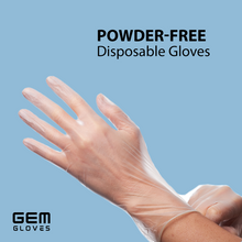 Load image into Gallery viewer, GEM Gloves Vinyl Powder Free Disposable Gloves - 100 PCS