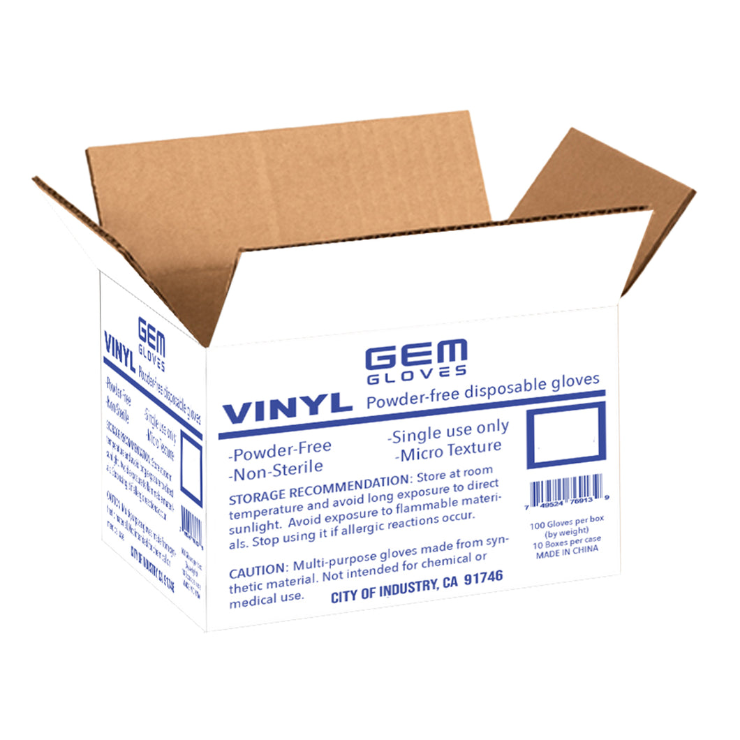 Case Pack - GEM Gloves Vinyl Powder Free Disposable Gloves - 1000 PCS