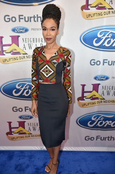 Michelle Williams wearing African print in Melange Mode