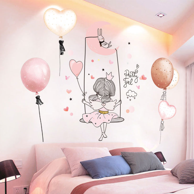 Best Cartoon Girl Moon Wall Stickers For Kid's And Girls Room Online