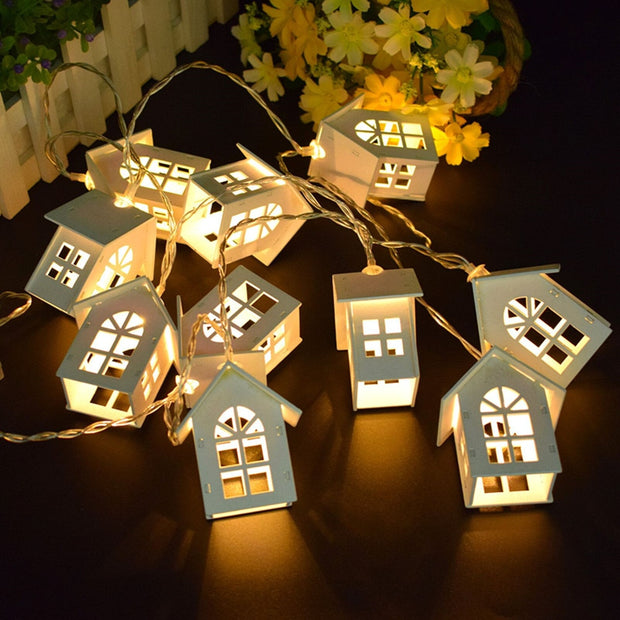 String Light Fairy Wood House For Home Decoration Accessories 2020