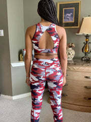 KYNDALL OPEN BACK BRA | RED CAMO