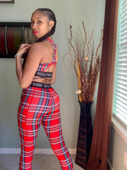 MORGAN HIGH WAIST LEGGINGS | RED PLAID