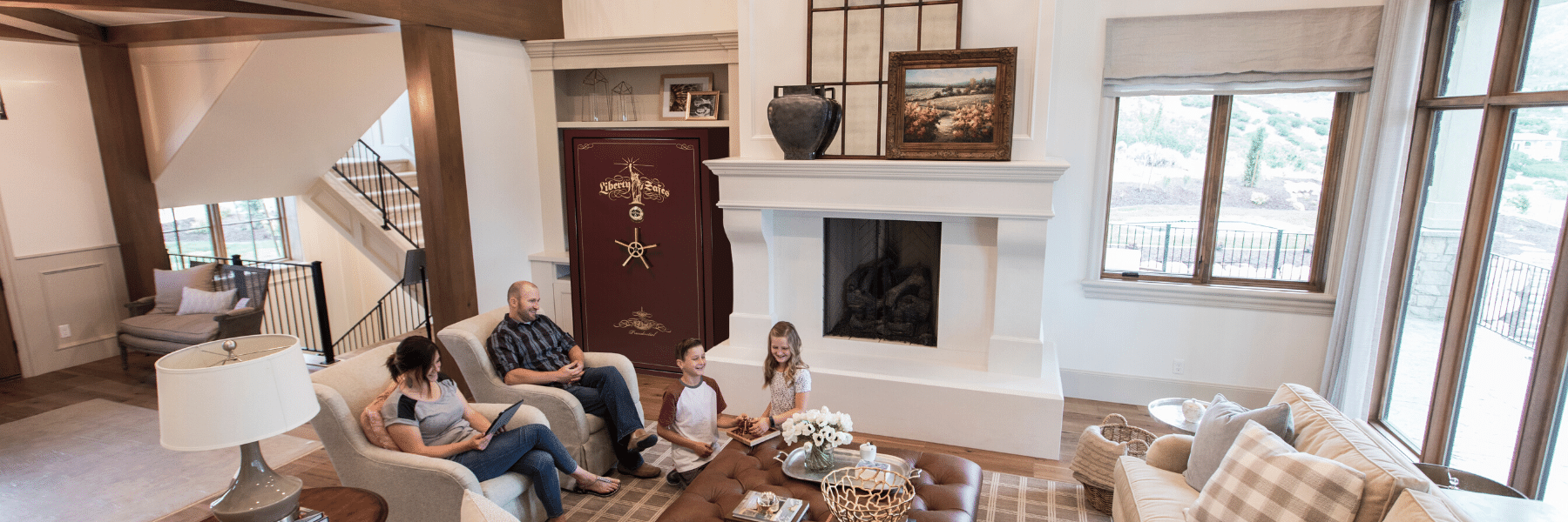 family sitting in living room