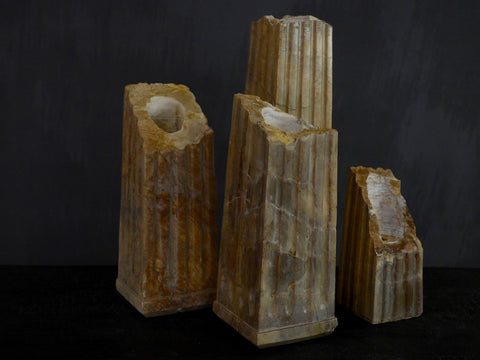 Broken Marble Column Candle Holders
