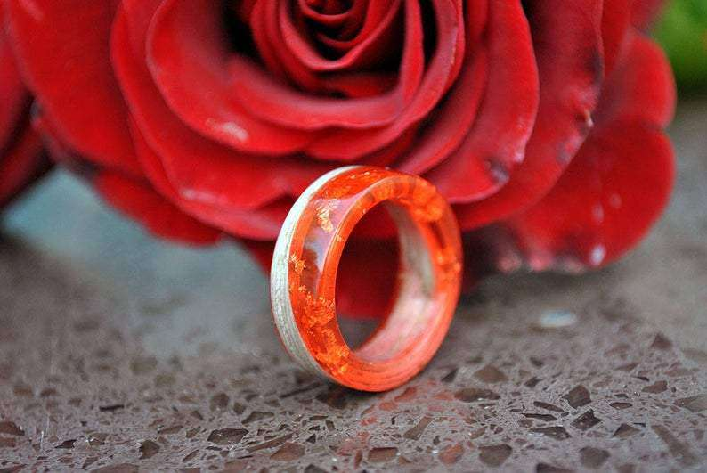Autumn Falling Wood and Resin Handcrafted Wedding Ring | Grooves