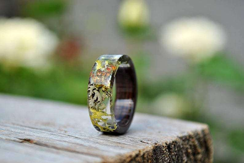 Back To Earth Wood Resin Handcrafted Wedding Ring | Grooves