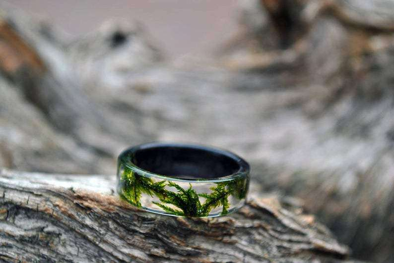 Wood Resin Handmade Wedding Ring | Grooves