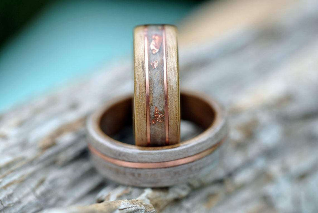 Brasso and Copper Tones Handcrafted Wedding Ring Set | Grooves