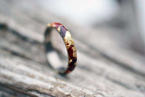 Fiery Passions Wood and Metal Handcrafted Wedding Ring | Grooves