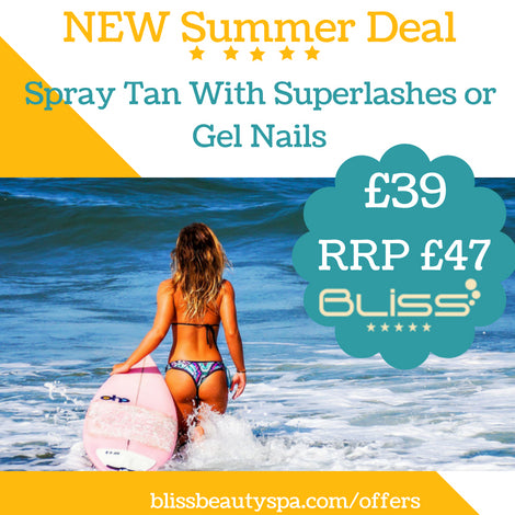 spray tan with superlashes or gel nails