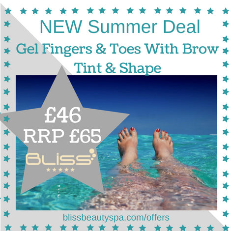 gel fingers and toe with brow tint and shape