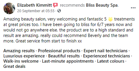 bliss beauty spa review