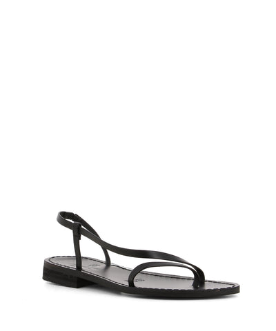 A black italian leather minimalist chic strappy leather sandal featuring a small block heel and round toe. Made by Antichi Romani - this style runs true to size.