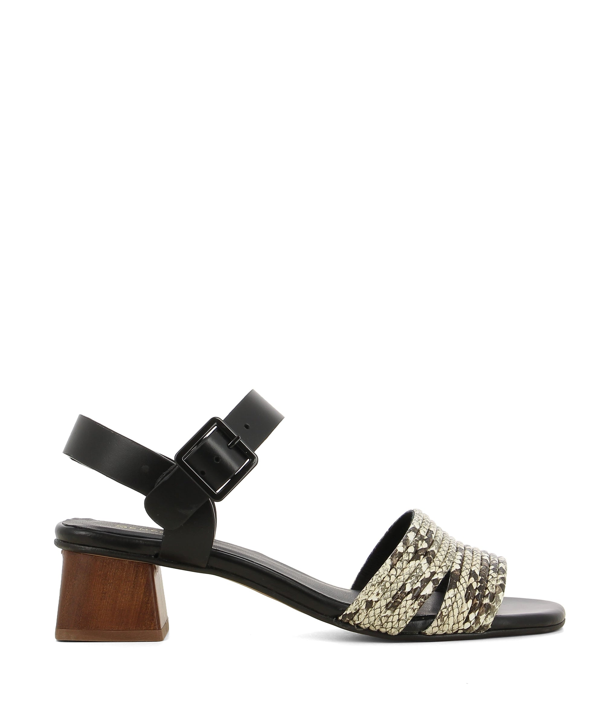 Black and white strappy heeled sandals that have an ankle strap with a buckle fastening and features a snake-embossed upper, a brown flared block heel and an open square toe by Sempre Di.