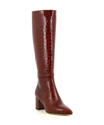 A red Italian leather knee high boot with a croc skin effect to the upper.