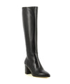 A black leather, block heel and pointed toe, knee high boot by Le Pepé.