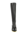 A black Italian leather knee high boot by Le Pepé. The '1349074' has a zipper fastening and features a mid block heel and a pointed toe.