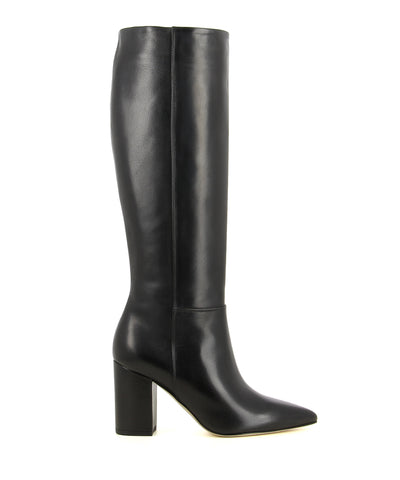 A black Italian leather knee high boot by Le Pepé. The '1349536' has an inner zipper fastening and features a block heel and a pointed toe.