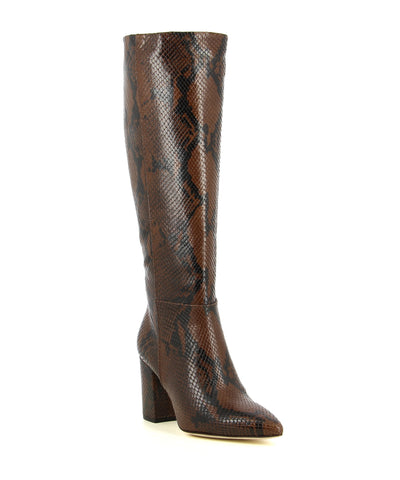 A brown snake skin Italian leather knee high boot by Le Pepé. The '1349536' has an inner zipper fastening and features a block heel and a pointed toe.