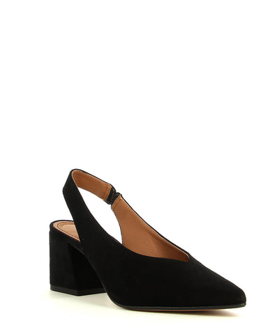 Black Suede Block Heel Slingback Heels by Christian Di Riccio - this style runs true to size.