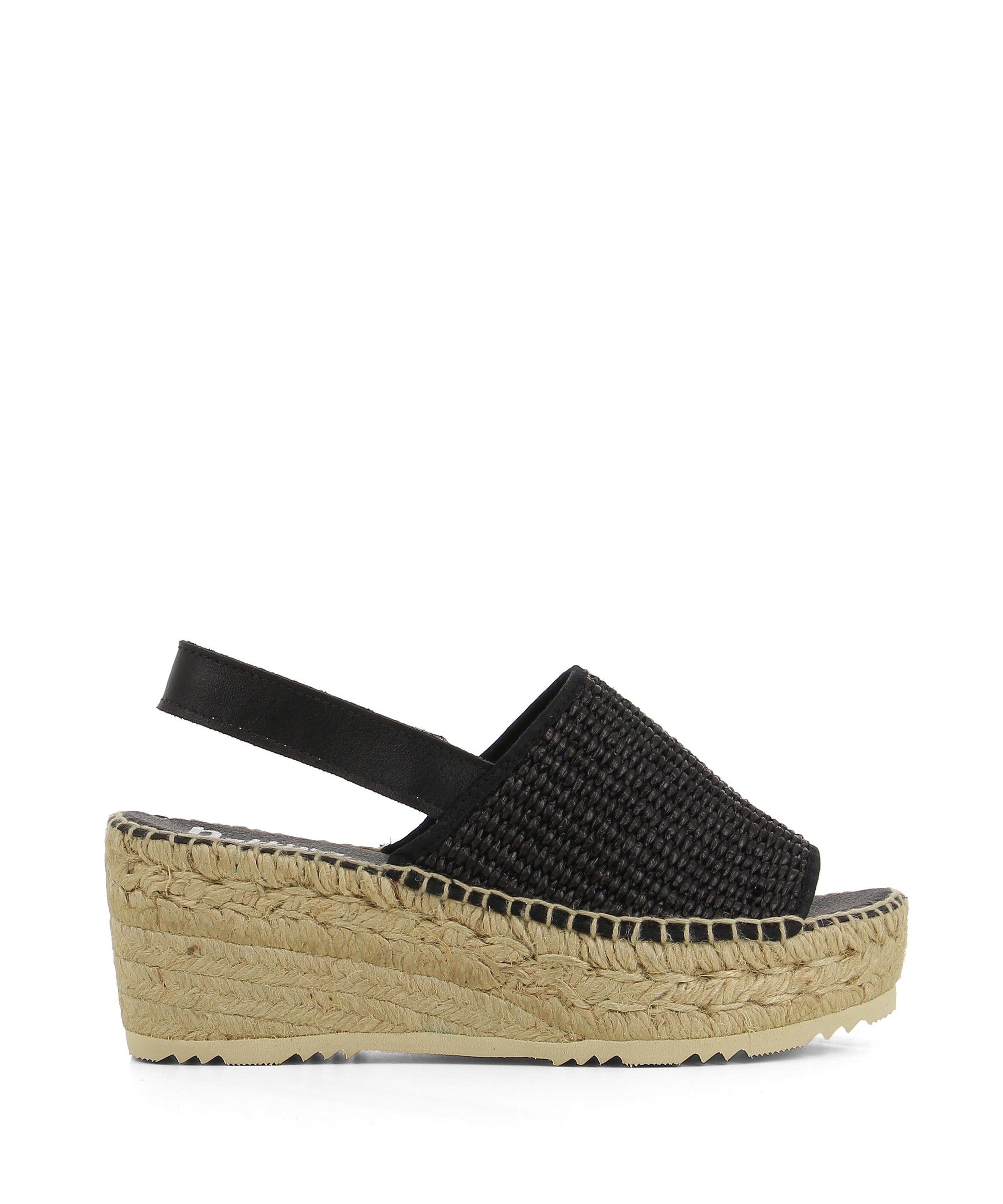 Chic black espadrille style platform sandals that have a slingback ankle strap, and features a woven upper, a braided jute sole and a open round toe by Nattiva.