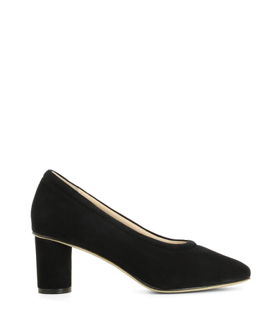 Black suede leather pumps that feature a 6 cm block oval heel and a soft square toe by 2 Baia Vista.