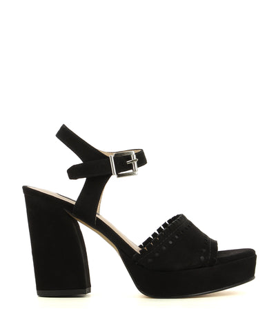 Classic black suede platform heels, featuring a buckle fastening, cutout detailing and a platform block heel by Zinda.