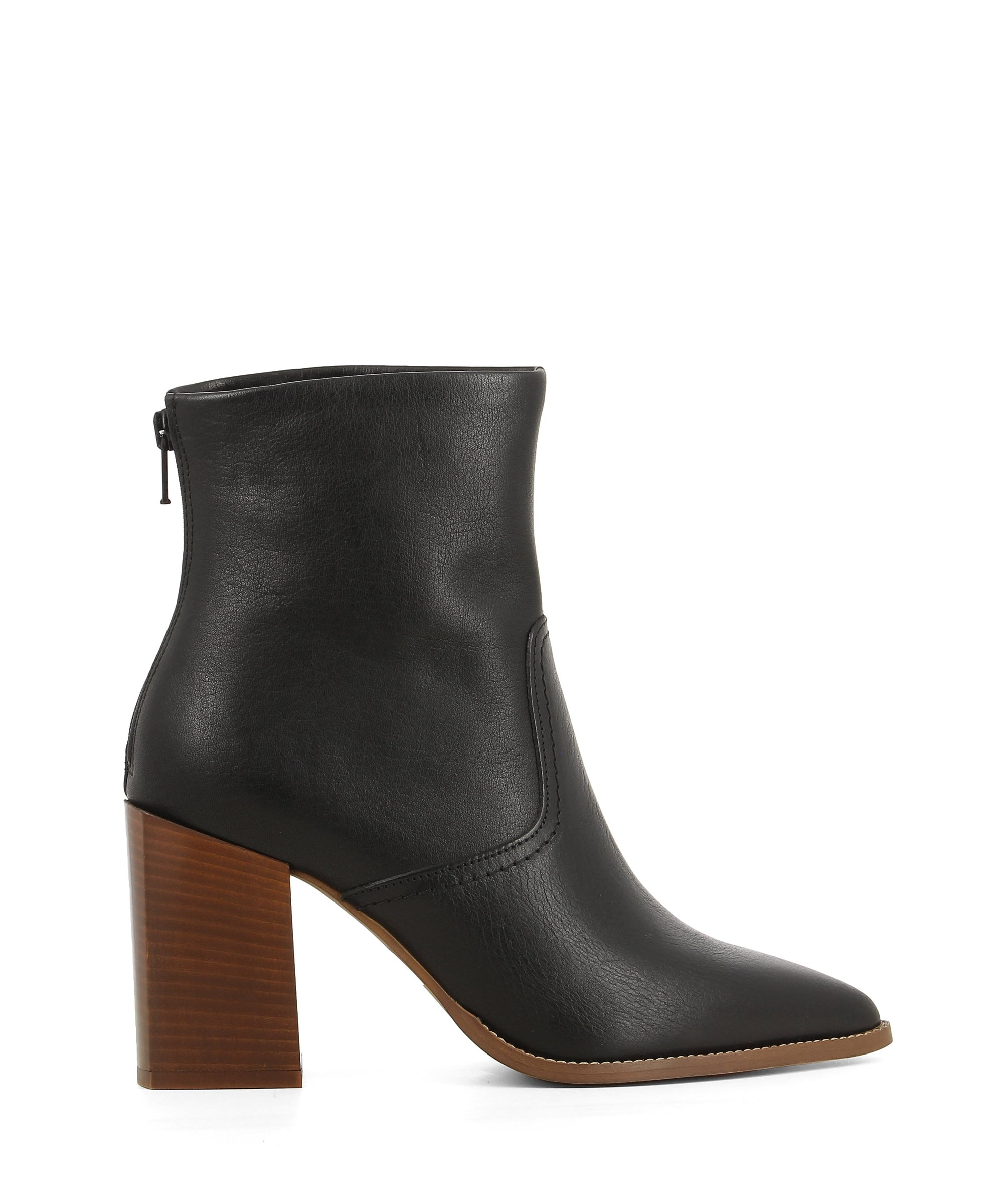 A black leather western style ankle boot featuring a back zipper fastening, top stitching, a wooden block heel, and a pointed toe. Made by Christian Di Riccio. This style runs true to size.