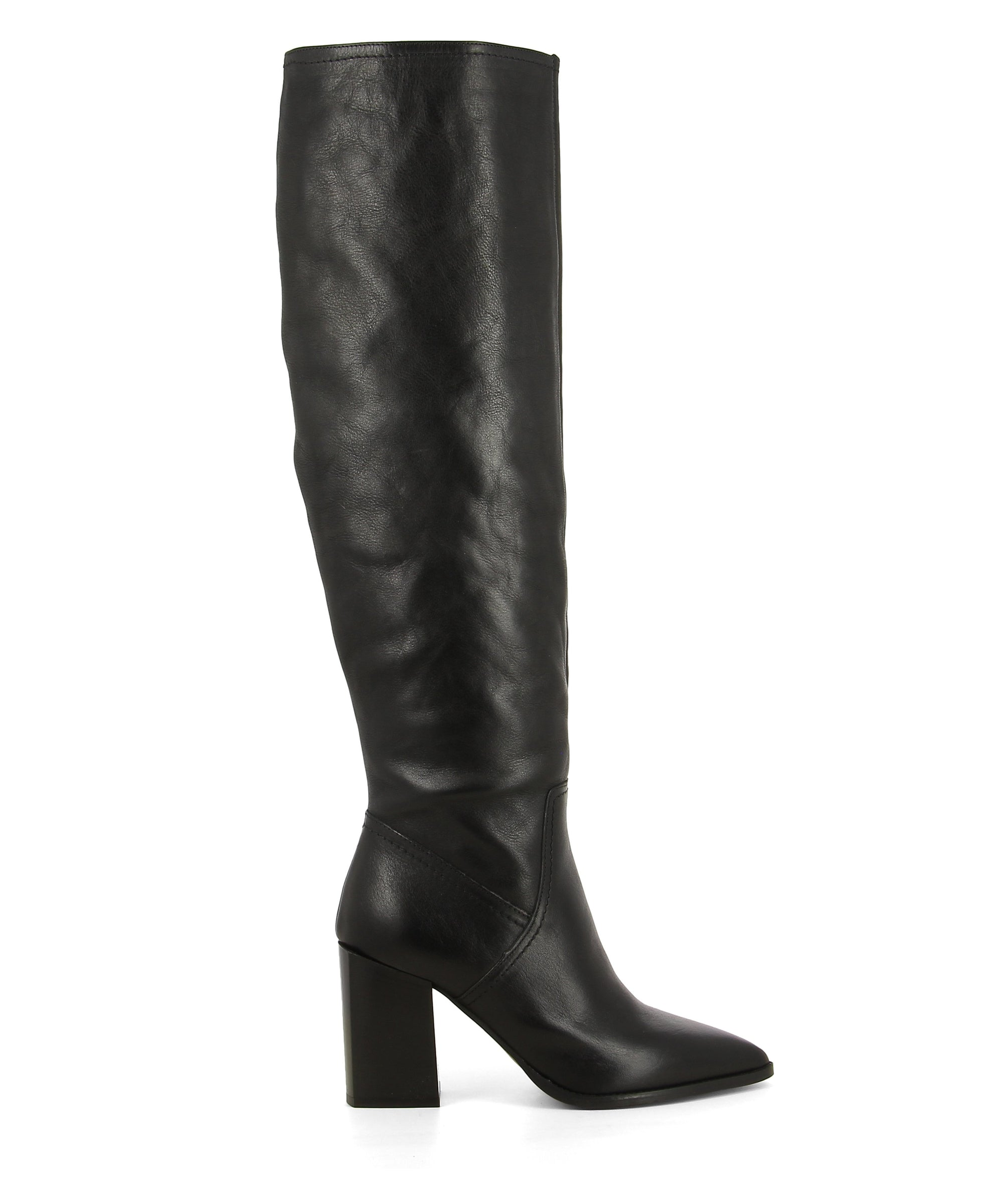 A black leather knee high boot featuring a zipper fastening, a high block heel and a pointed toe. Made by Christian Di Riccio. This style runs true to size.
