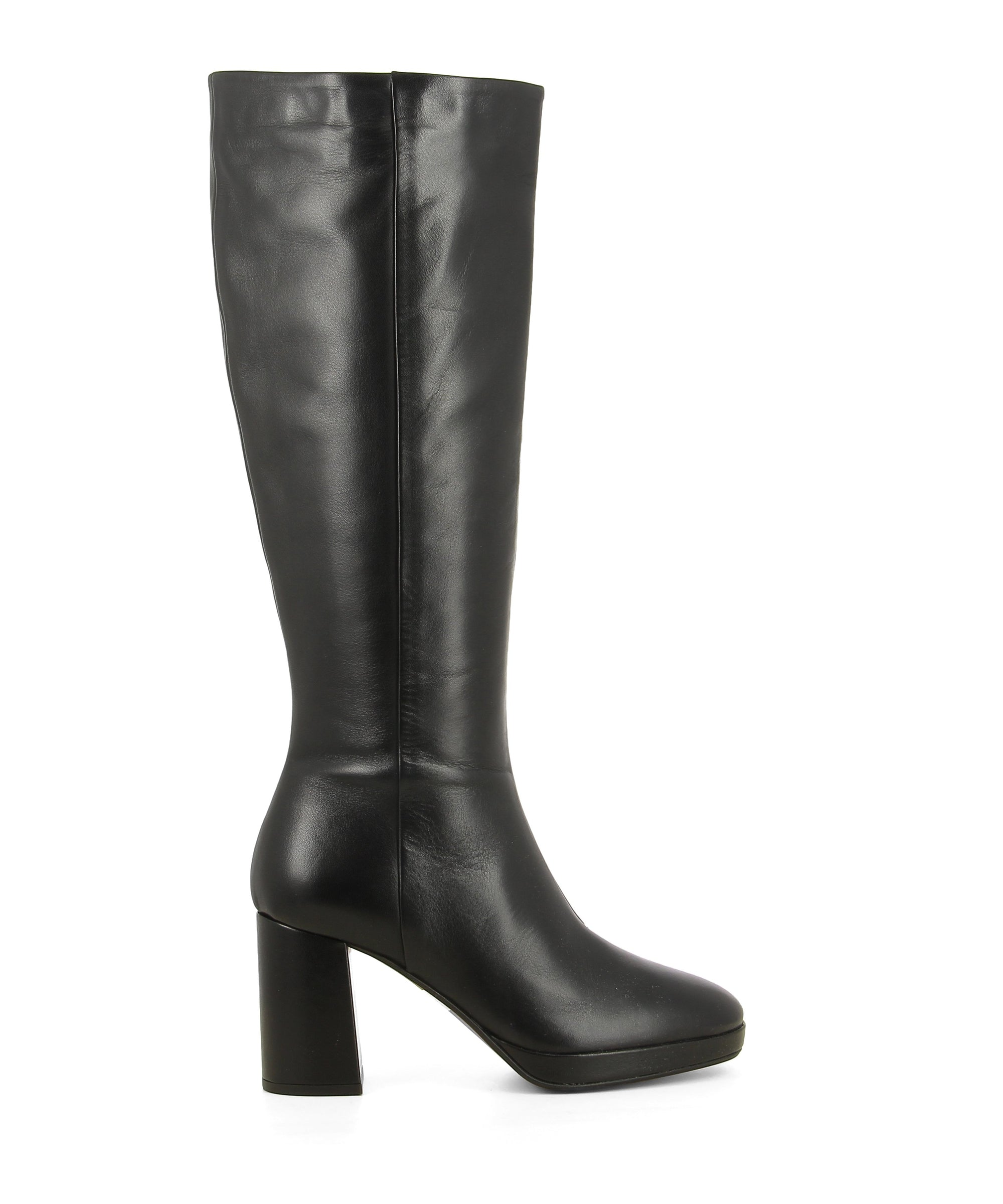 A black leather knee high platform boot featuring a zipper fastening, a high block heel and a round toe. Made by Christian Di Riccio. This style runs true to size.
