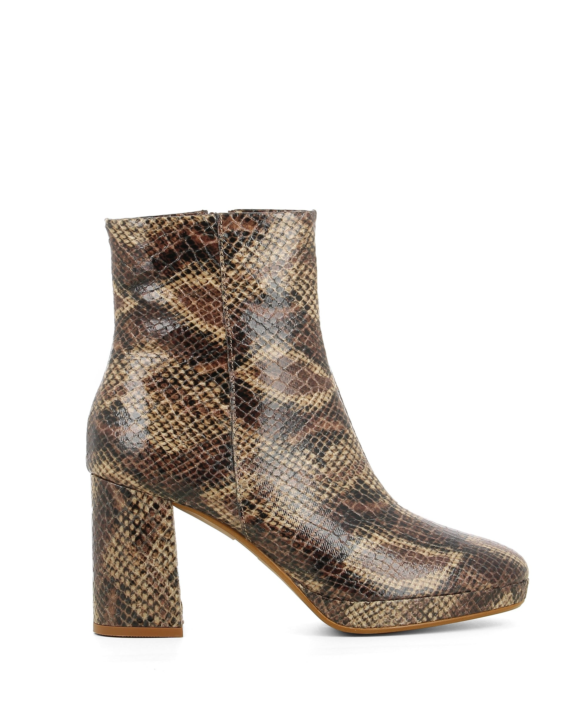 A taupe snake effect platform ankle boot by Christian Di Riccio. The '4916' features a side zip closure, a block heel and a round toe.