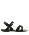 A black Italian leather sandal by L'Artigiano. The '50310' has buckle fastening and features cross over straps and a round toe.
