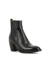 Classic black premium leather Chelsea style ankle boots that feature panel covered elastic gussets, 7 cm block heel and a polished almond toe by Alberto Fasciani.