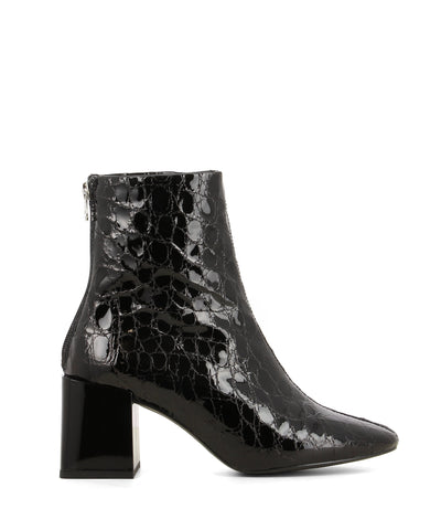 A textured black patent leather ankle boots that have a zipper fastening at the back and features a smooth block heel and a round toe by Lokas.