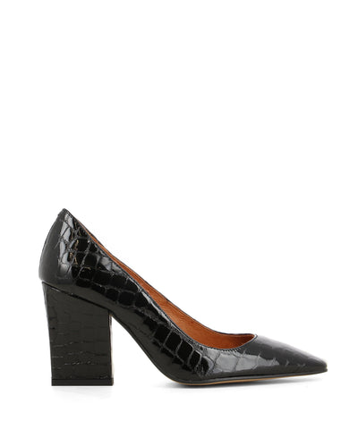 A textured black patent leather court shoe that features a stylized rectangle block heel and an elongated square toe by Lokas.